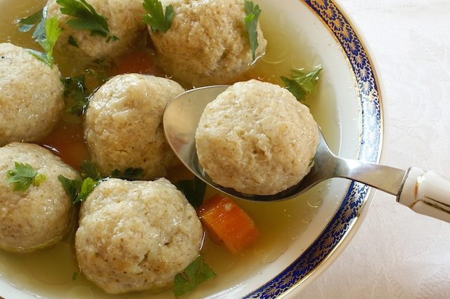 Close up of Matzo (Matzah) balls soup
