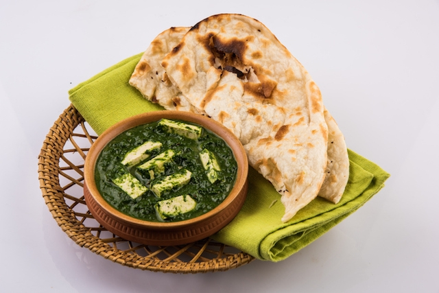 Indian food spinach or palak paneer with roti, chapati, paratha