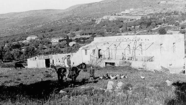 Hamoshava Motza, where Theodor Herzl stayed and planted a tree during a visit in 1898. (Central Zionist Archives/Wikimedia Commons)