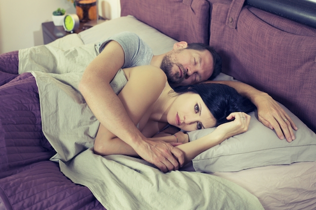 Sad woman not able to sleep relationship problem retro style