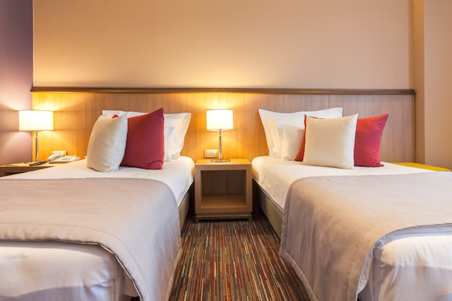 Twin hotel room interior