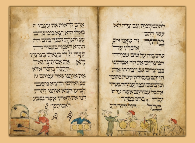 "A page from the ""Bird's Head Haggadah"" (Wikimedia Commons)"