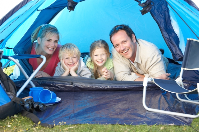 family in tent camping