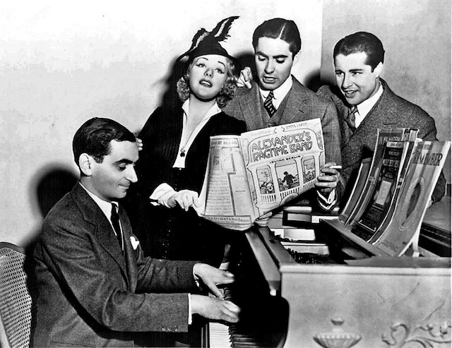 "Irving Berlin (seated) with stars of the film ""Alexander's Ragtime Band"" in 1938. (Wikimedia Commons)"