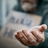 Outstretched hand of beggar