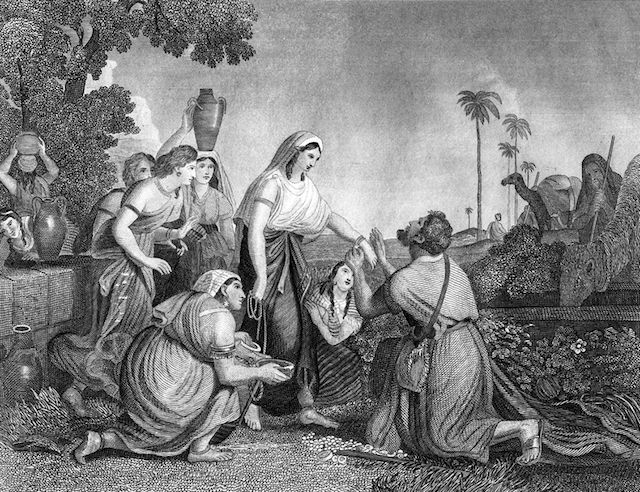 Engraving from 1868 showing Rebecca (Rebecca) at the well with Abraham's servant, Eliezer. (iStock)
