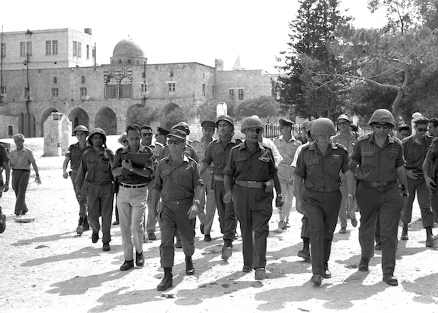 Defense Minister Moshe Dayan, Chief of Staff Yitzhak Rabin, Gen. Rehavam Zeevi and Gen. Narkis in the Old City of Jerusalem, soon after Israel successfully claimed the area during the 1967 Six Day War. (Israeli Government Press Office)