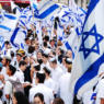 Jerusalem, Israel- April 14, 2007: Young people gathering with flags of Israel at Jaffa Street in the center of Jerusalem to celebrate Israel's Independence Day.