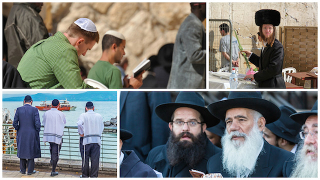 Jewish men wearing kippot (left), a shtreimel (top right) and black hats (lower right). The tzitzit of two men in the lower left image are visible.