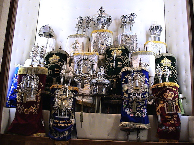 Torah scrolls in the ark of the Luxembourg City Synagogue. (Wikimedia Commons)