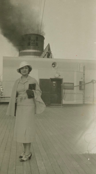 Molly Picon aboard the ocean liner Lloyd Triestino in an undated photo. (Courtesy of American Jewish Historical Society)