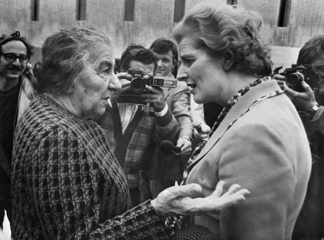 Golda Meir with future British Prime Minister Margaret Thatcher in Tel Aviv in 1976.