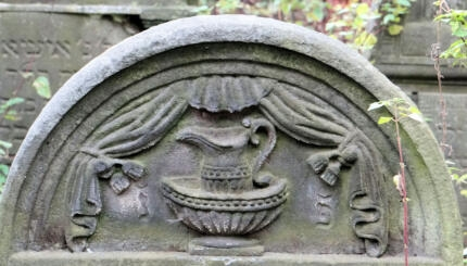 detail of a gravestone with a ewer