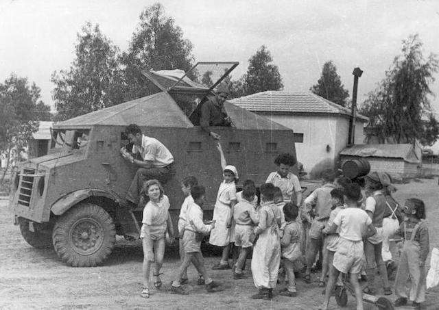 "A ""Butterfly"" improvised armored car of the Haganah at Kibbutz Dorot in the Negev, 1948. (KKL-JNF Photo Archive)"