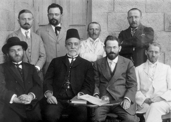 The First Committee of the Hebrew Language, Jerusalem 1912. Sitting (R-L): Eliezer Ben-Yehuda, Joseph Klausner, David Yellin, Eliezer Meir Lifshitz; Standing: Chaim Aryeh Zuta, Kadish Yehuda Silman, Abraham Zevi Idelsohn, Abraham Jacob Brawer. (Wikimedia Commons)