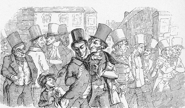 Caricature of Jewish stock-exchange speculators which appeared in the German satirical magazine Fliegende Blätter in 1851. (Wikimedia Commons)
