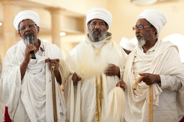 Ethiopian rabbis (Kessim) at the ceremony of a new spiritual leader in Ashkelon, Israel, in 2012. (Wikimedia Commons)