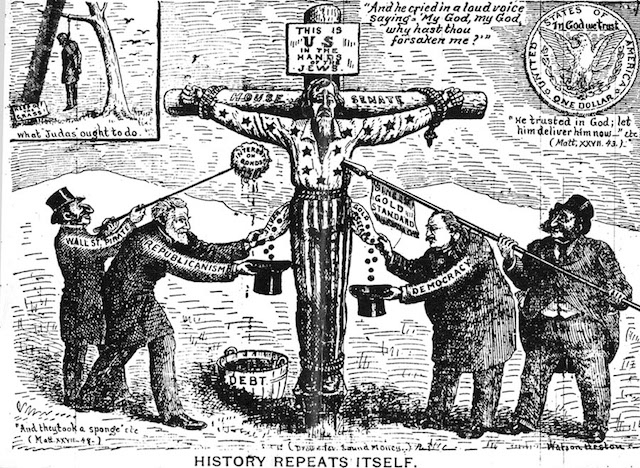 This anti-Semitic political cartoon from 1896 plays on the myth that Jews killed Jesus, in this case substituting Uncle Sam for Jesus. (Wikimedia Commons)
