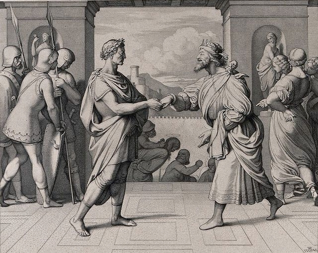 An 1845 etching depicting King Herod and Pontius Pilate shaking hands. (F.A. Ludy via Wellcome Images/Wikimedia Commons)