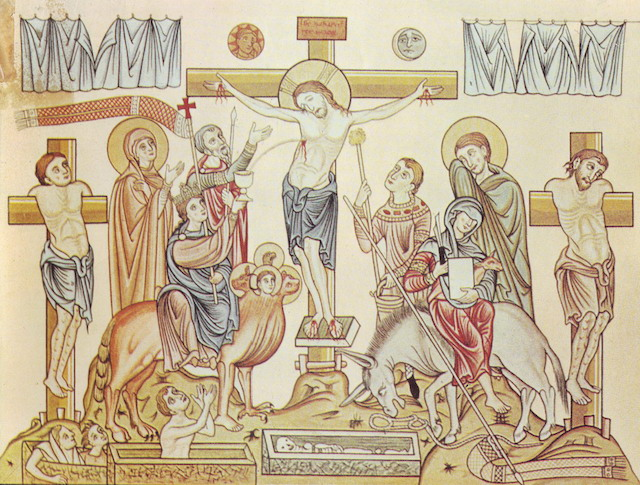 """Crucifixion of Jesus of Nazareth,"" 12th-century illustration from the Hortus deliciarum of Herrad of Landsberg (Wikimedia Commons)"