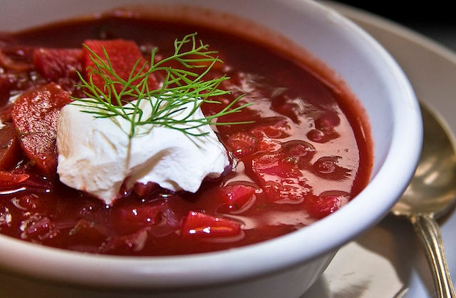 Borscht, served with sour cream and dill.