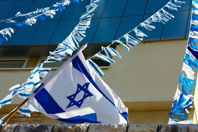 Israeli flag on independence day