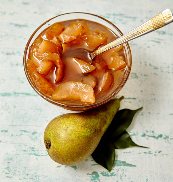 Pear jam in a glass