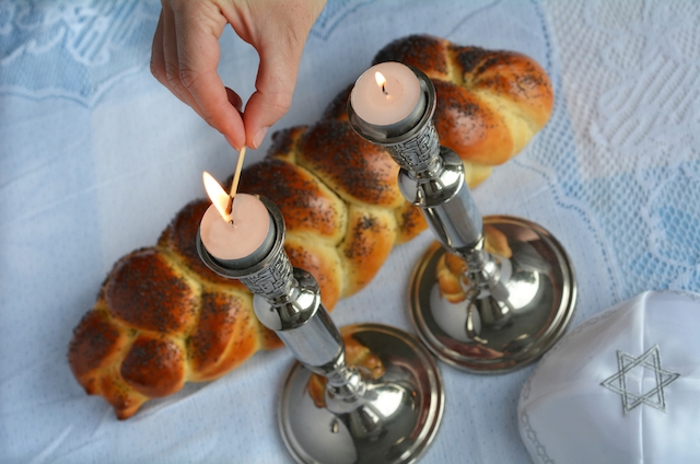 challah shabbat dinner candles