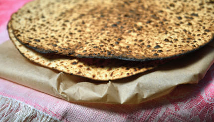 Round Matzah bread for Passover