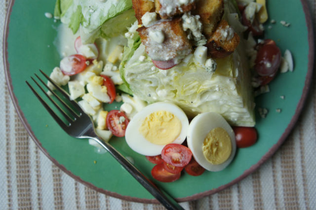veggie wedge salad with challah croutons
