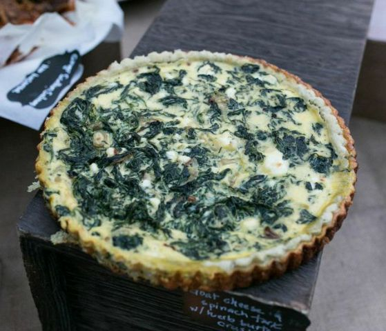 Spinach Goat Cheese Tart with Herb Butter Crust