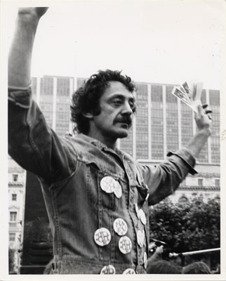 1974: Harvey Milk on stage at Gay Day, San Francisco Civic Center. Don Eckert, James C. Hormel Gay & Lesbian Center, San Francisco Public Library.