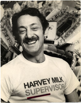 1975: Harvey at opening of 1975 Campaign. Estate of Harvey Milk. James C. Hormel Gay & Lesbian Center San Francisco Public Library.