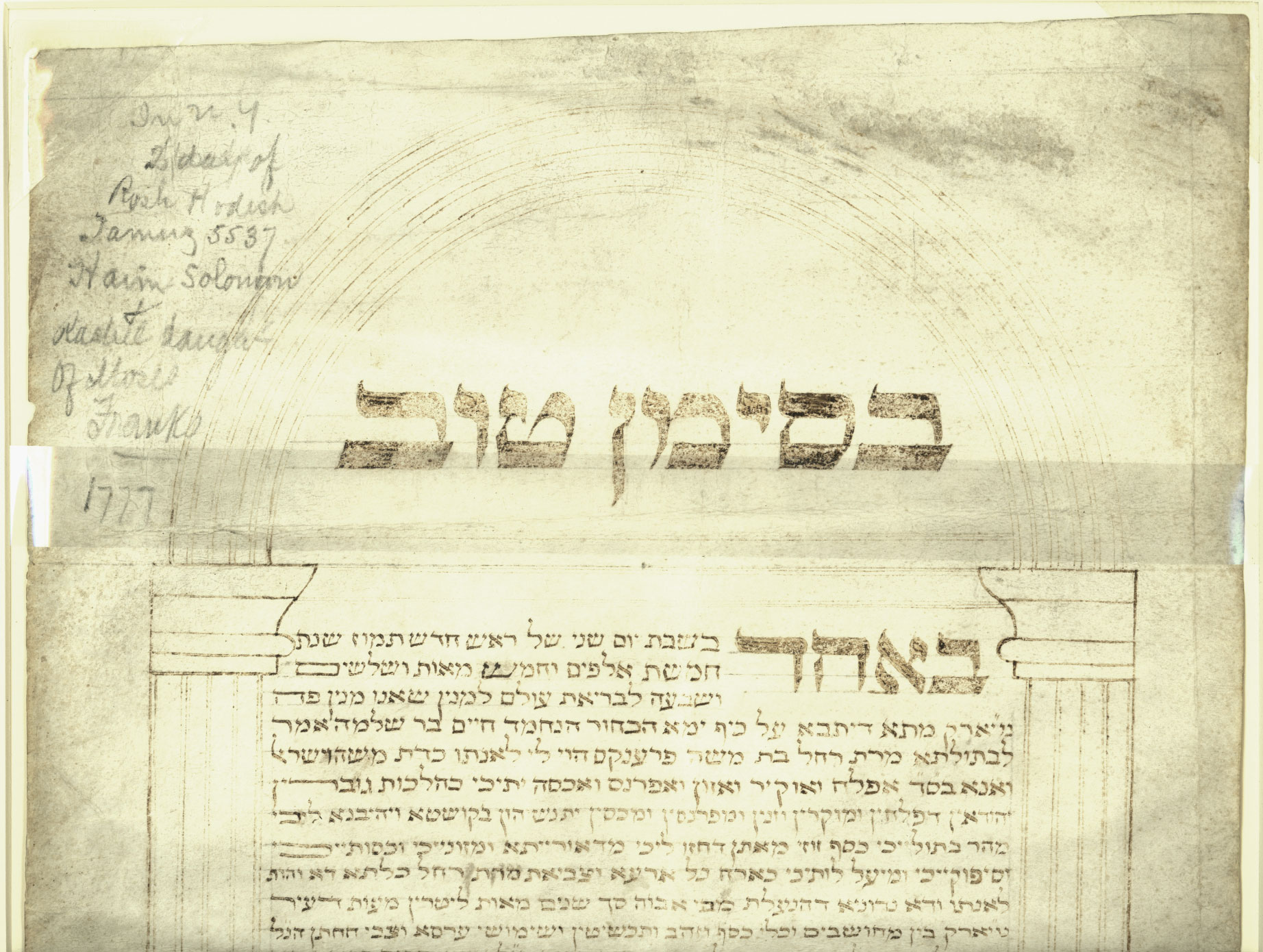 Ketubah (marriage contract) of Haym Salomon and Rachel Franks.