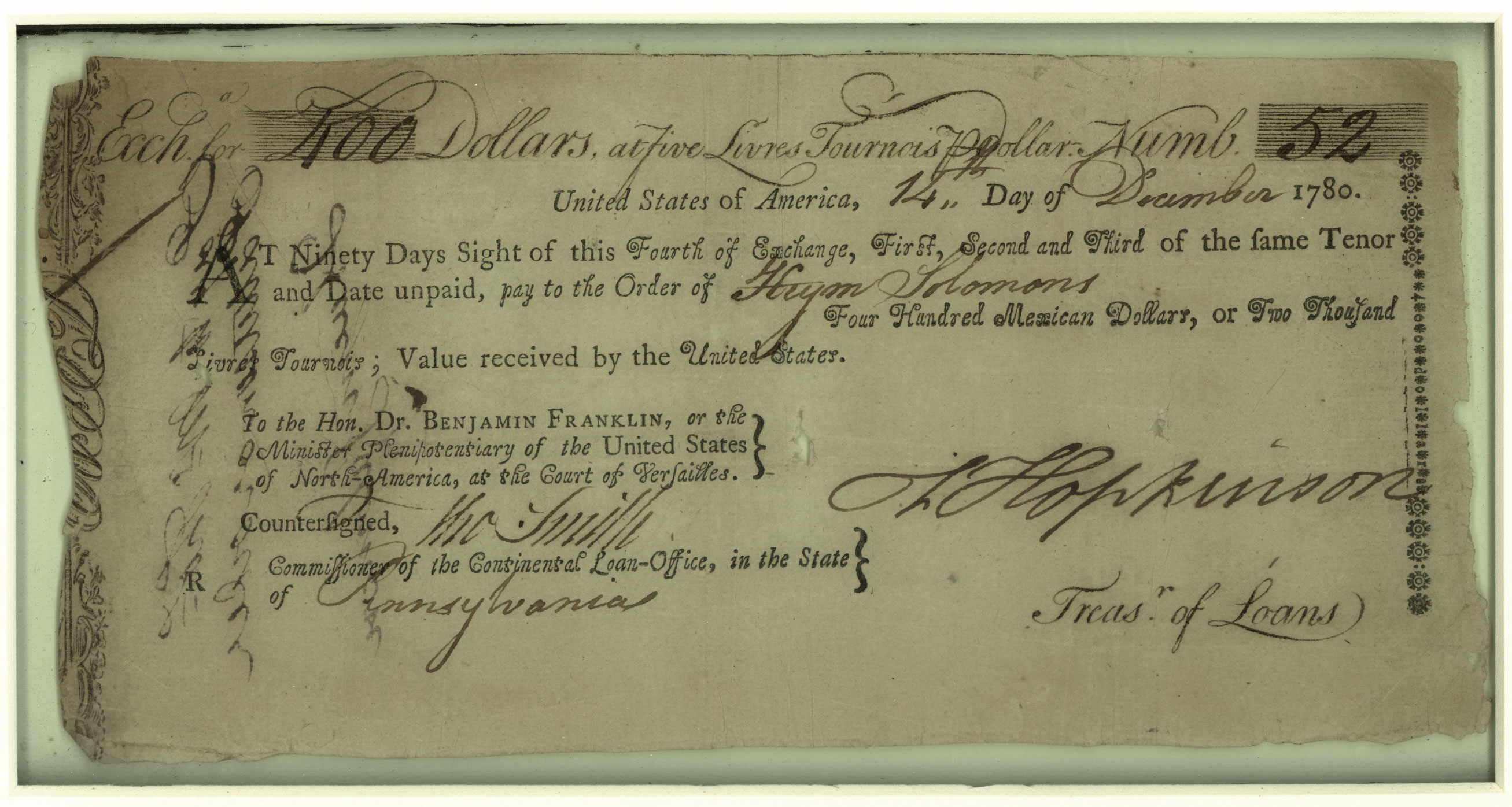 Haym Salomon bill of sale, 1780