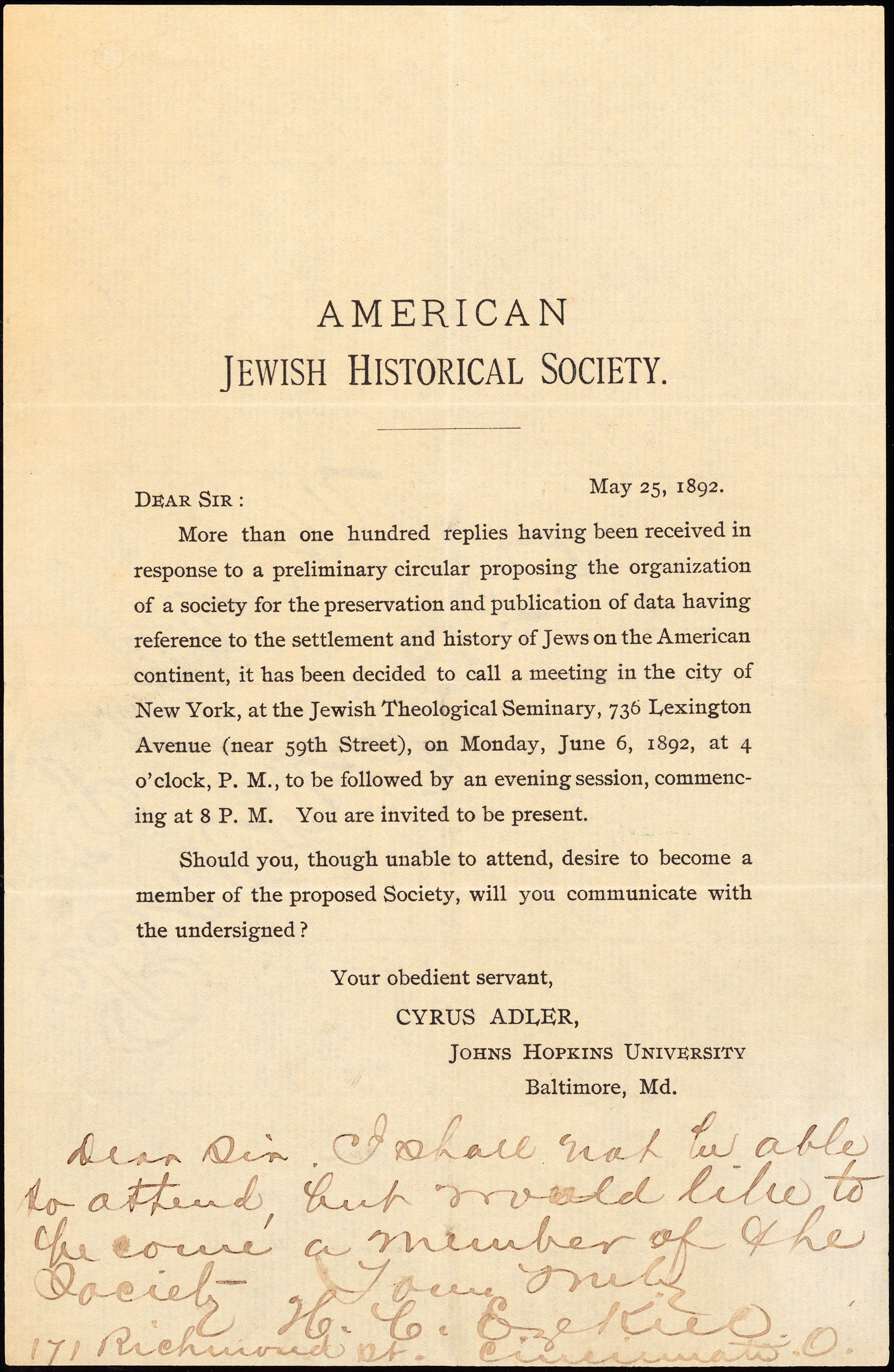 American Jewish Historical Society original 'call to meeting', May 25, 1892.
