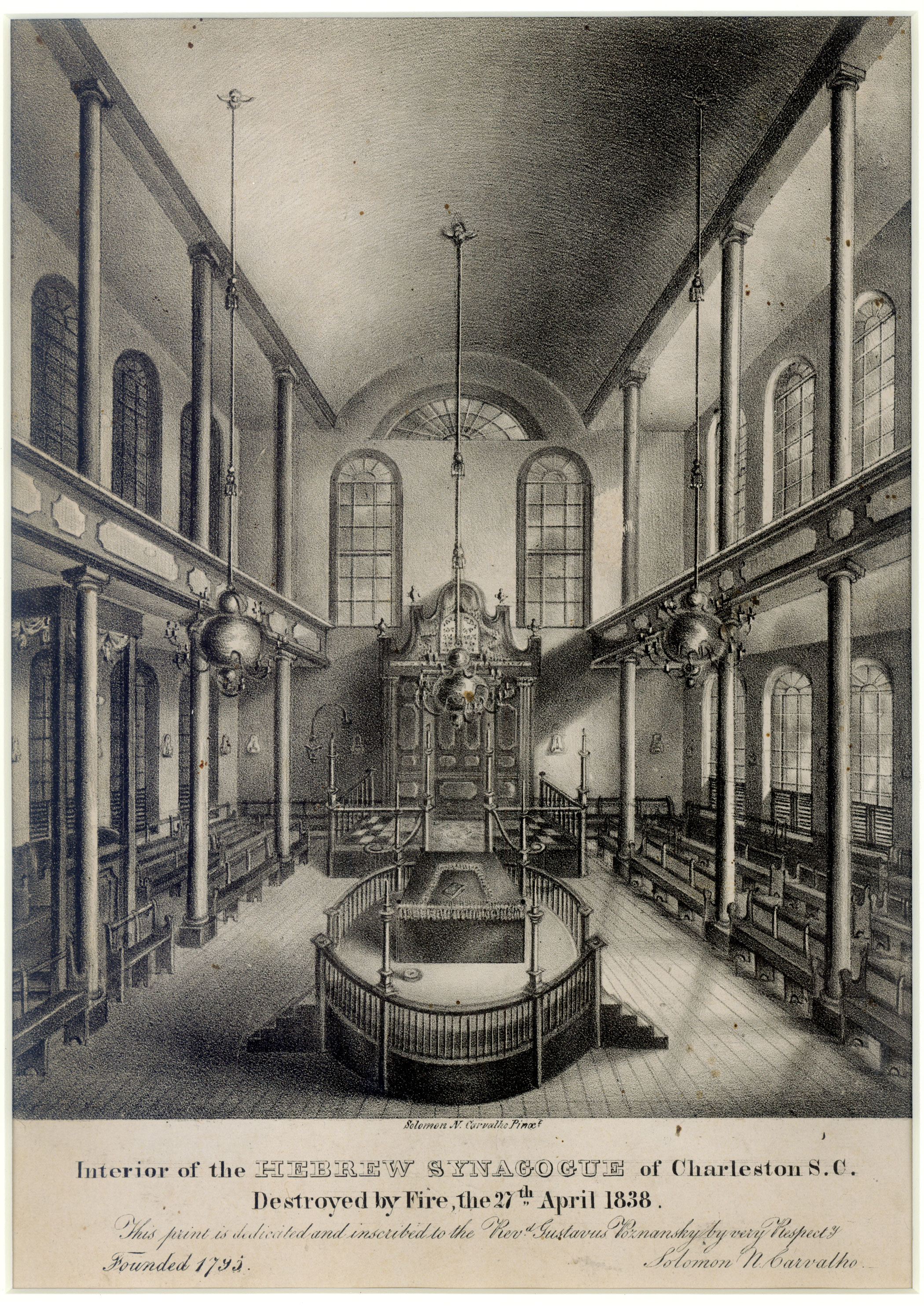The interior of Congregation K. K. Beth Elohim, Charleston, South Carolina.