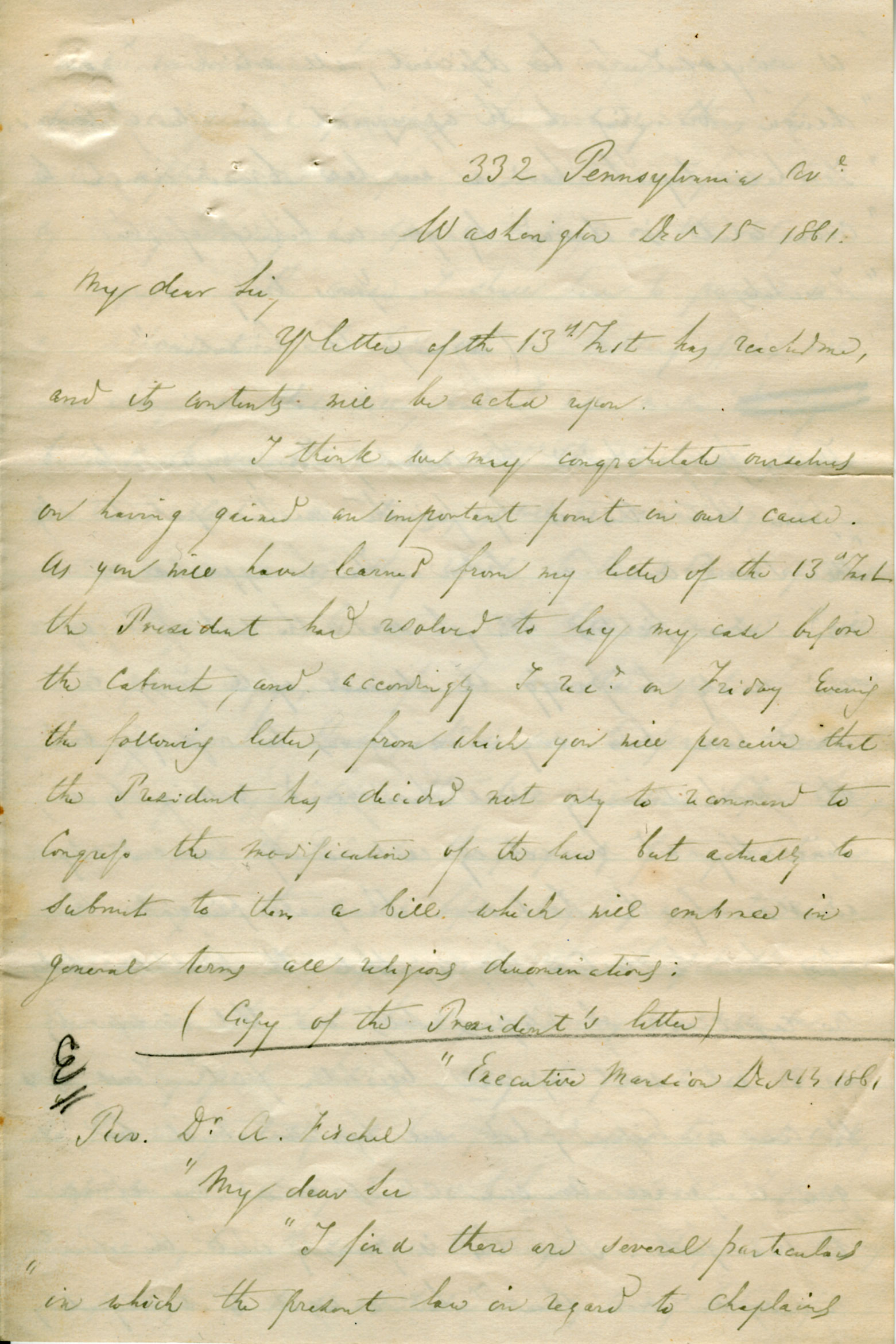 Fischel letter to Henry Hart re President Lincoln, December 11, 1861.