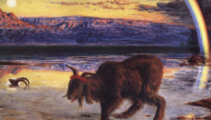 """""""The Scapegoat"""" by William Holman Hunt. Public domain. And check out that sweatband!"""