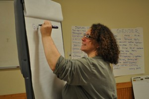 Andrea Jacobs, Keshet's Director of Education, leading a training