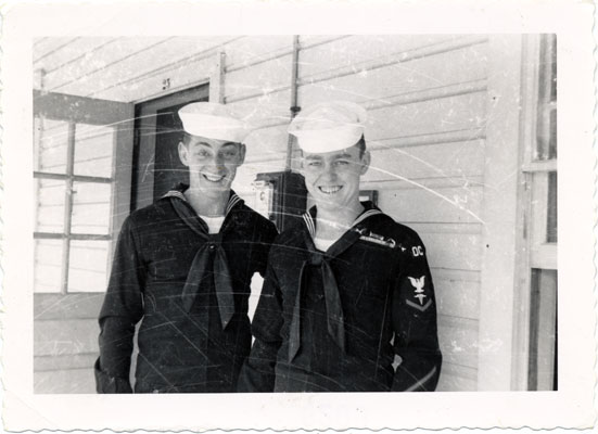 Between 1953-54: Harvey and friend in the Navy