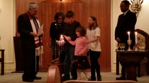 Lighting the Chanukah candles in Cleveland, MS.