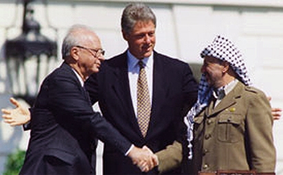 Yitzhak Rabin Bill Clinton Yassir Arafat Oslo Accords Peace Israel Palestine PLO White House