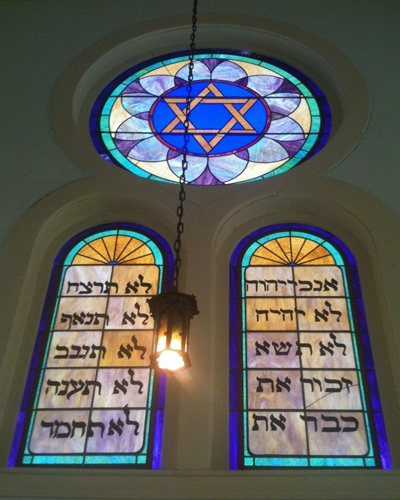 The Tiffany windows in Corsicana's Temple Beth-El.