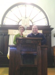 Gail with Rabbi Fellman of Syracuse at Ahavath Rayim