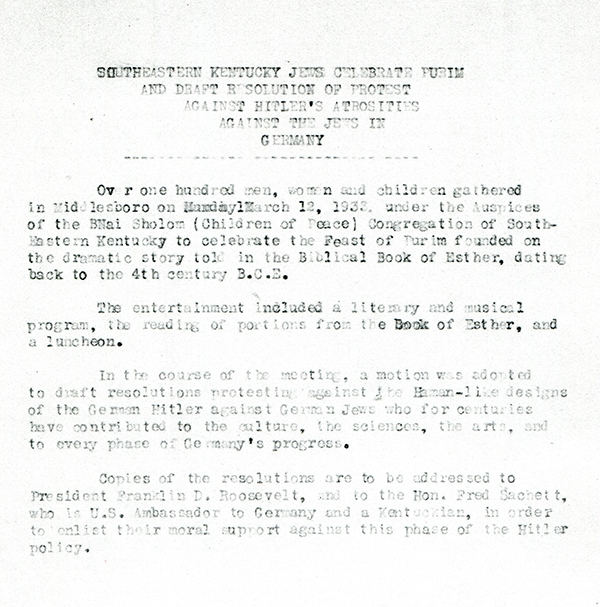Press release following the Harlan congregation's resolution against Hitler's persecution of Jews, 1933