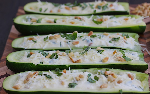 ricotta stuffed zucchini boats for Passover