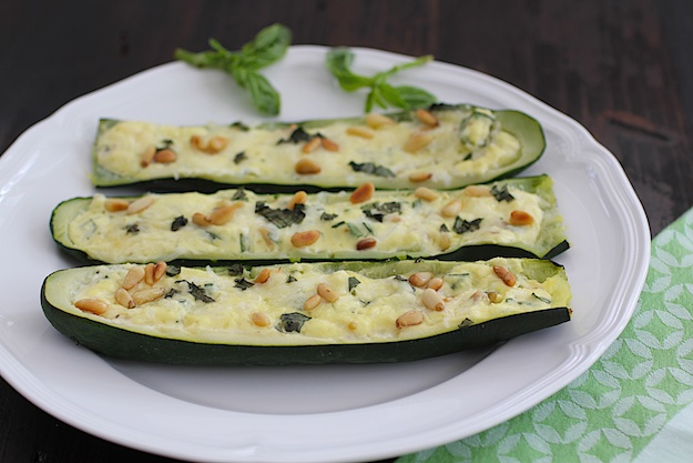 Zucchini Boats Stuffed with Ricotta and Pine Nuts