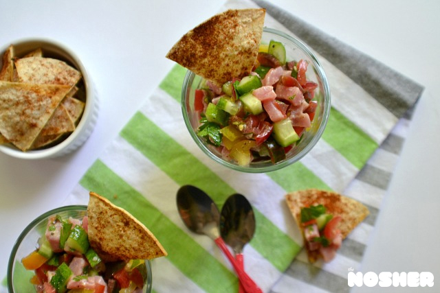 Israeli Salad Ceviche with homemade chips