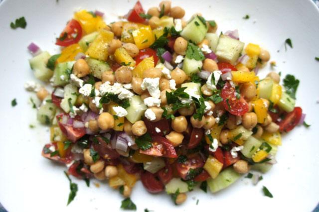 Israeli Salad With Chickpeas Feta Fresh Mint The Nosher